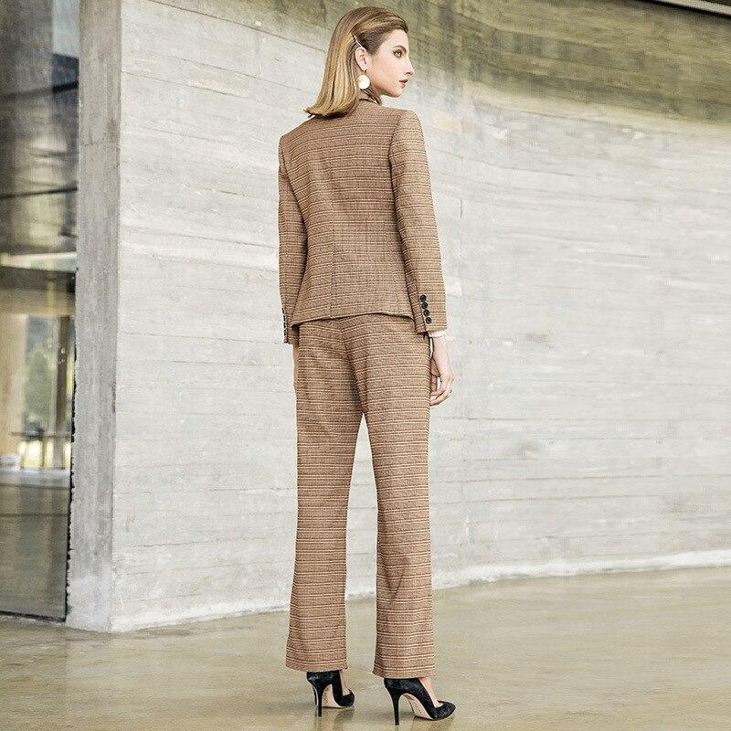 KAMIYING New Autumn Fashion Leisure Lattice Lacing Suit Slim Fit Office Lady Two-Piece Set Pant Suits Tailleur Femme PKHC666