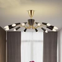 12 Heads Nordic Post Modern Simple Iron LED Ceiling Lamp Bedroom Living Room Restaurant Delightfull Lights
