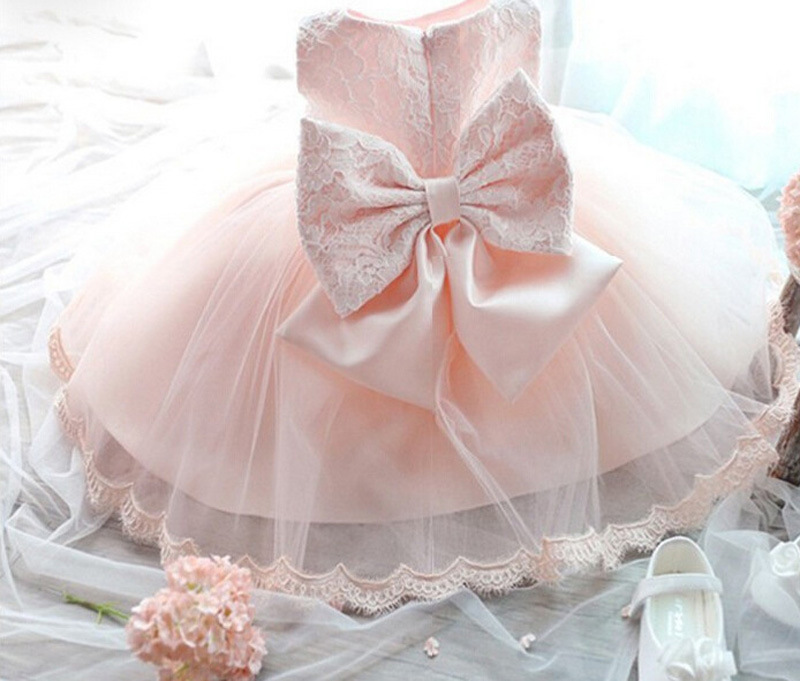 New Summer Pink Children Dresses for Girls Kids Formal Wear Princess Dress for Baby Girl 3-8 Year Birthday Party Dress