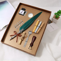 1 Set of English Calligraphy Feather Pen Student Writing Ink Pen Set Stationery Gift Box 5 Nib Wedding Gift Quill Fountain Pen