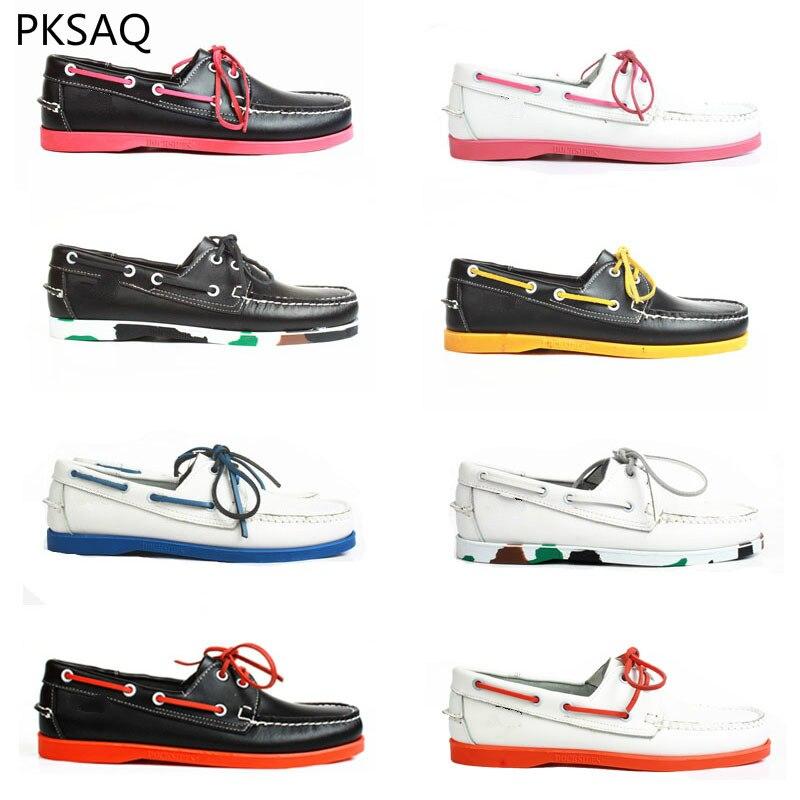 Printemps été hommes bateau chaussures à la main chaussures chromatique décontracté en cuir chaussures Couple plat extérieur chaussures à lacets B 39-46