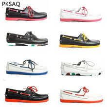Primavera Verão Homens Sapatos de Barco Sapatos Feitos À Mão Cromática Sapatos de Couro Casuais Casal Plana Ao Ar Livre Rendas Até Sapatos B 39-46