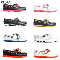 Spring Summer Men Boat Shoes Handmade Shoes Chromatic Casual Leather Shoes Couple Flat Outdoor Lace Up Shoes B 39 46