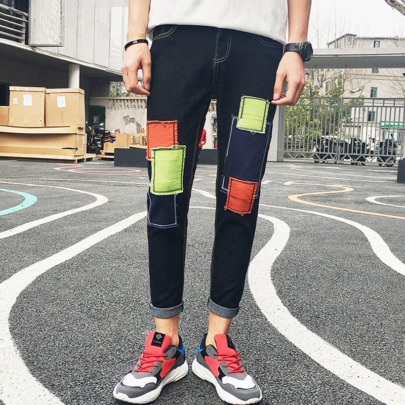 Monsoon Summer Retro Tide Nine Minutes   Jeans   Patch Men's Korean Bottom Trousers Junior Spring and Autumn Thin Pants