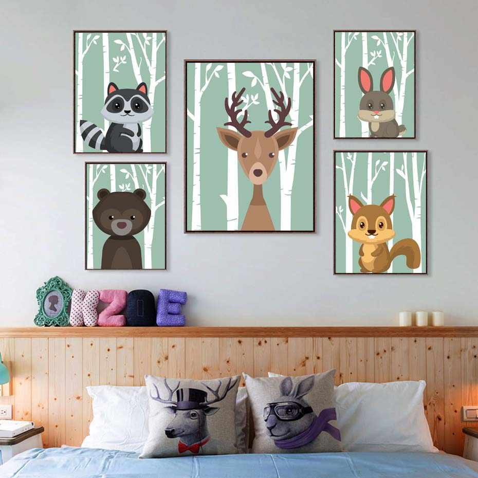 Forest Cartoon Animals Posters Squirrel Deer Cat Canvas Painting For Kids Nursery Room Funny Art Pictures Baby Gift Home Decor