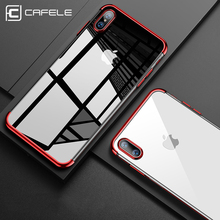 CAFELE Soft TPU Transparent Case for iphone8 Ultra Thin Electroplating Silicone Cover with Colored Frame