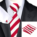2016 Fashion White and Red Stripe Tie Hanky Cufflink Silk Jacquard Neckties Ties For Men Formal Business Wedding Party C-242