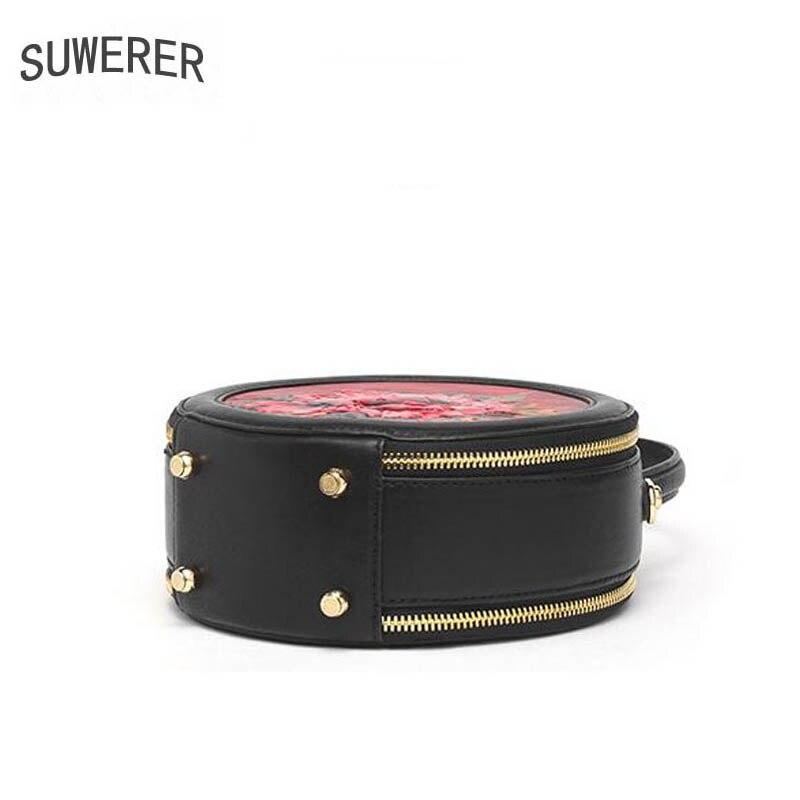 SUWERER 2019 Nuovo Delle Donne Del Cuoio Genuino borse di lusso delle donne delle borse del progettista del sacchetto di mucca In Rilievo Rotonda borsa di cuoio delle donne del sacchetto di spalla - 5