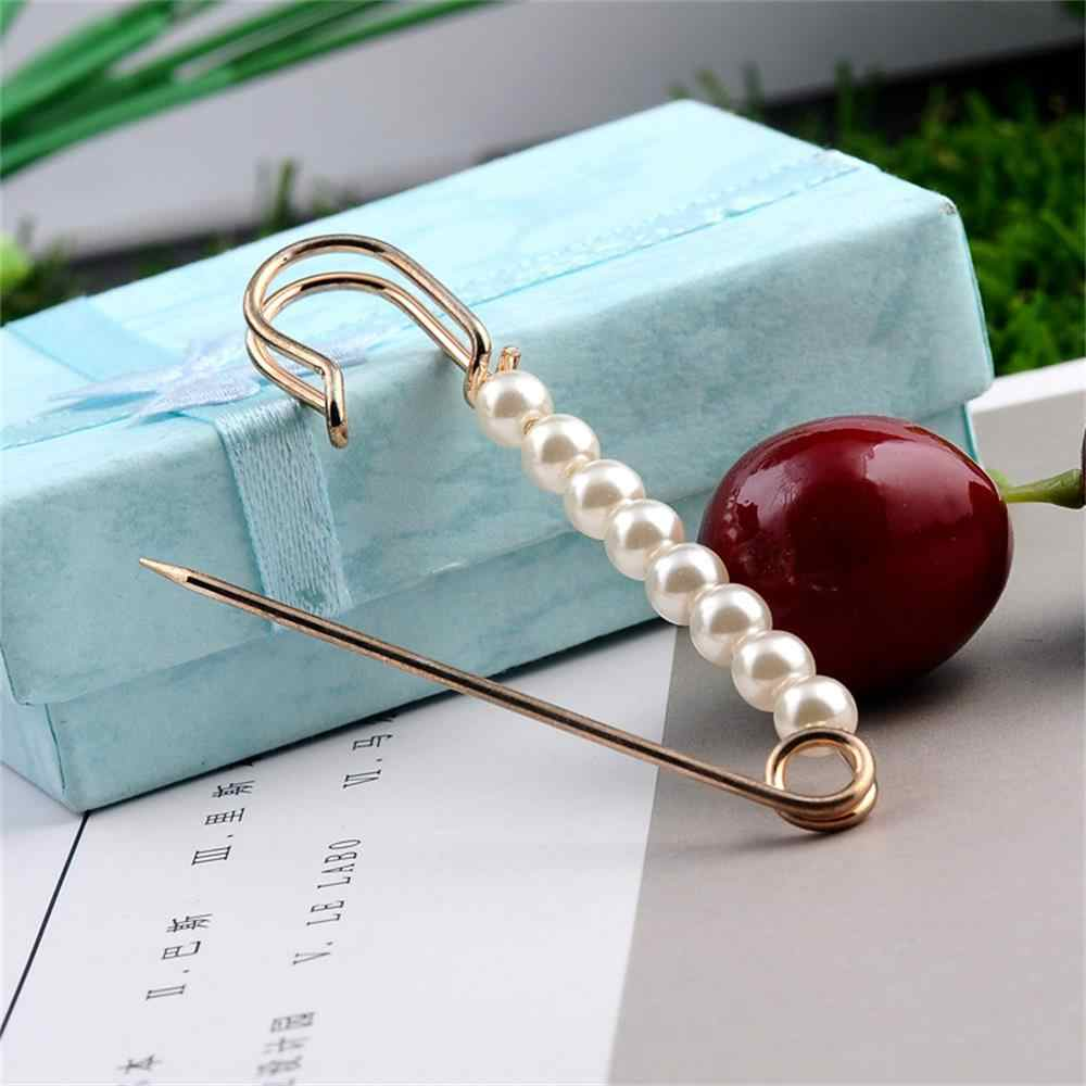 Women Charm Three Pearl Blouse Shirt Collar Stick Pin Scarf Safety Pin Brooches Sweater Jewelry Fashion Clothes Decors New