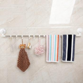 Yiwumart Sterke Zuignap Handdoekenrek Wandmontage Punch Gratis Telescopische Met Haken Handdoek Bar Badkamer Keuken Accessoires