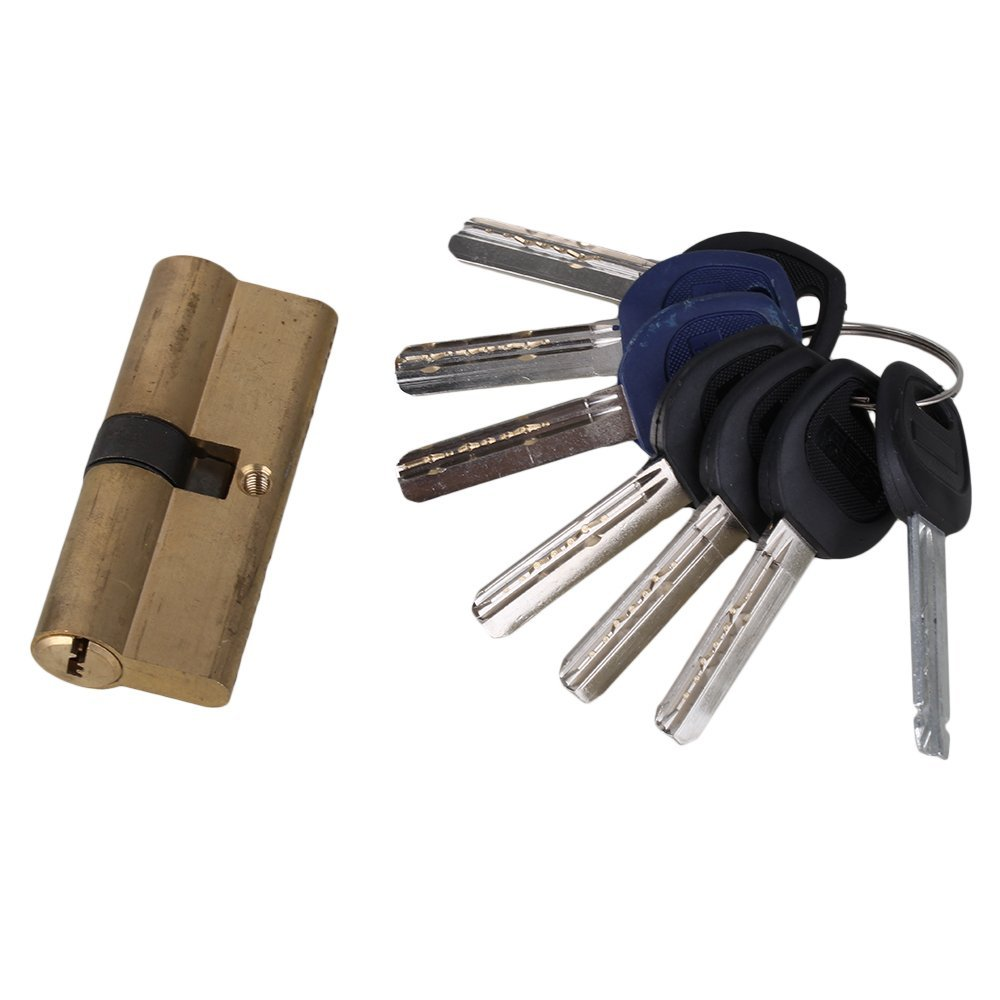Thumb Turn Euro Profile Cylinder Barrel Lock Brass Satin Nickel Finish 75mm With 7 Keys