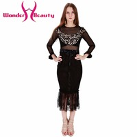 Wonder beauty Black Lace patchwork long sleeve Oneck transparent daily sexy elegant casual work office dress party ball dress