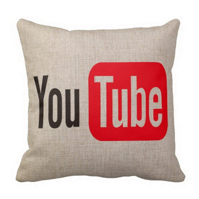 Youtube Cushion Cover Linen You Tube Throw Pillow Case Youtube Decorative Pillows Cases Funny Home Decor
