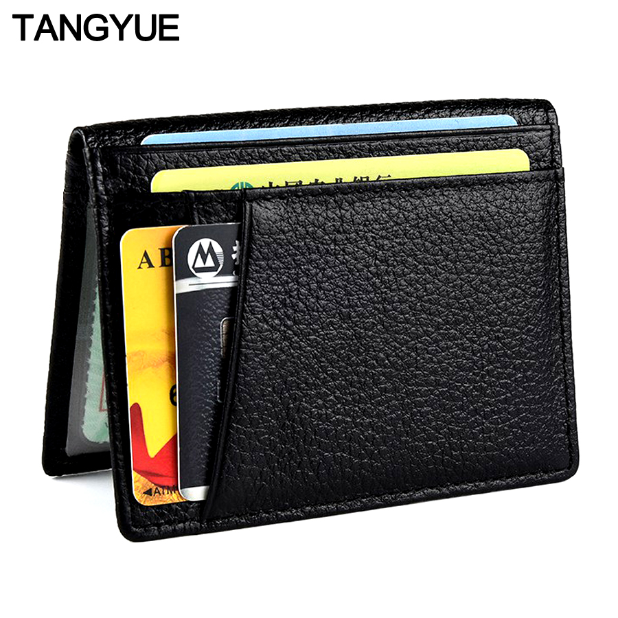 TANGYUE ID Credit Card Holder Men Leather Ultra Slim Bank Purse For Cards Wallet For Credit Card Case Cardholder Genuine Leather