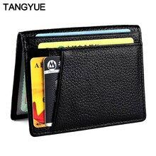 Tangyue carteira masculina para cartões, porta-cartão de crédito, carteira ultra fina, feita em couro, para cartões couro couro