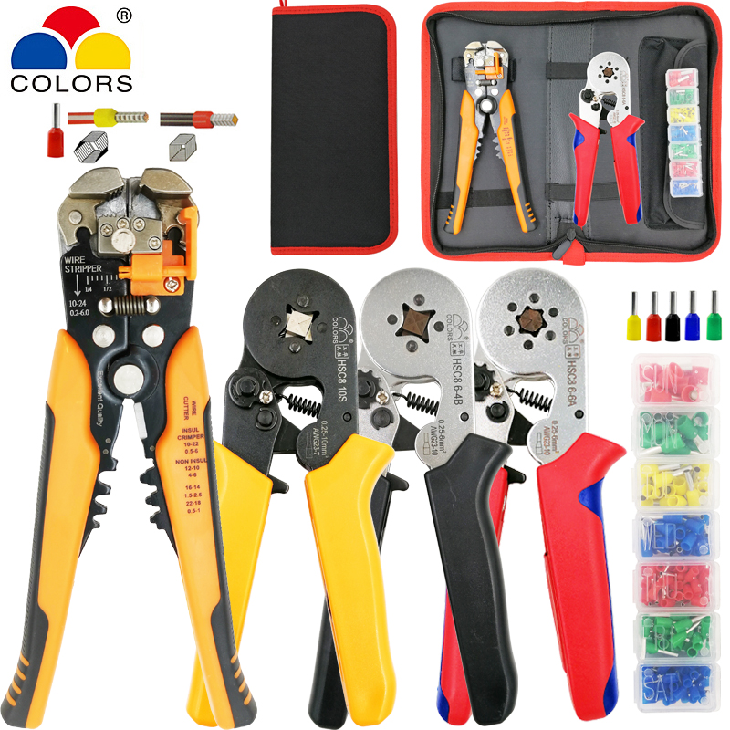 COLORS Kit HSC8 10S/6-4/6-6 Crimping Pliers Y1 Stripping Cutting Plier 260pcs/box Tube Terminal Suit Brand Electric Tools Set