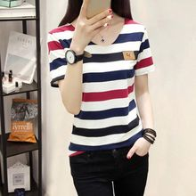 Summer T Shirt Women Casual Contrast Striped Printed T-shirt Woman Short Sleeves Pullover Pockets Tshirts 2019 New Arrivals contrast striped cactus print casual t shirt