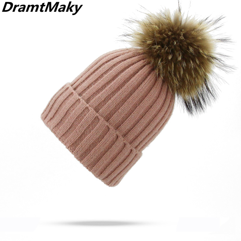 Fashion Real Fur Pompom Hat Winter Hat Men   Skullies     Beanies   Women Warm Cap Elasticity Knit   Beanie   Hats Adult Fur Pom Pom Hats