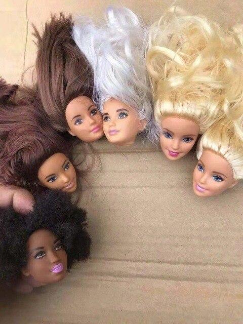Nouvelle tête de poupée de mode avec des filles étrangères cheveux noirs cheveux blancs cheveux plats bricolage accessoires pour grands grands yeux tête poupée filles cadeau