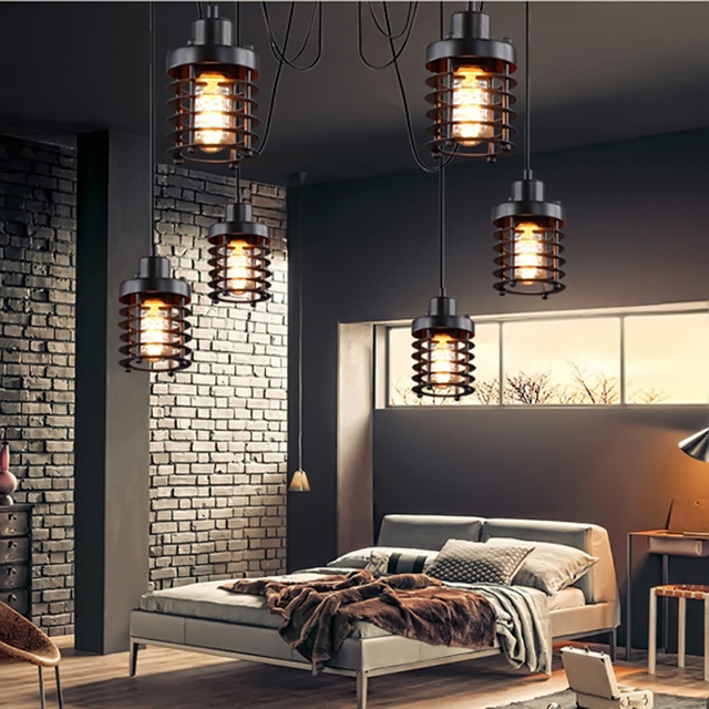 european style single head iron bar restaurant creative pendant lamp retro bedroom stairs american industrial circle - Retro Bedroom