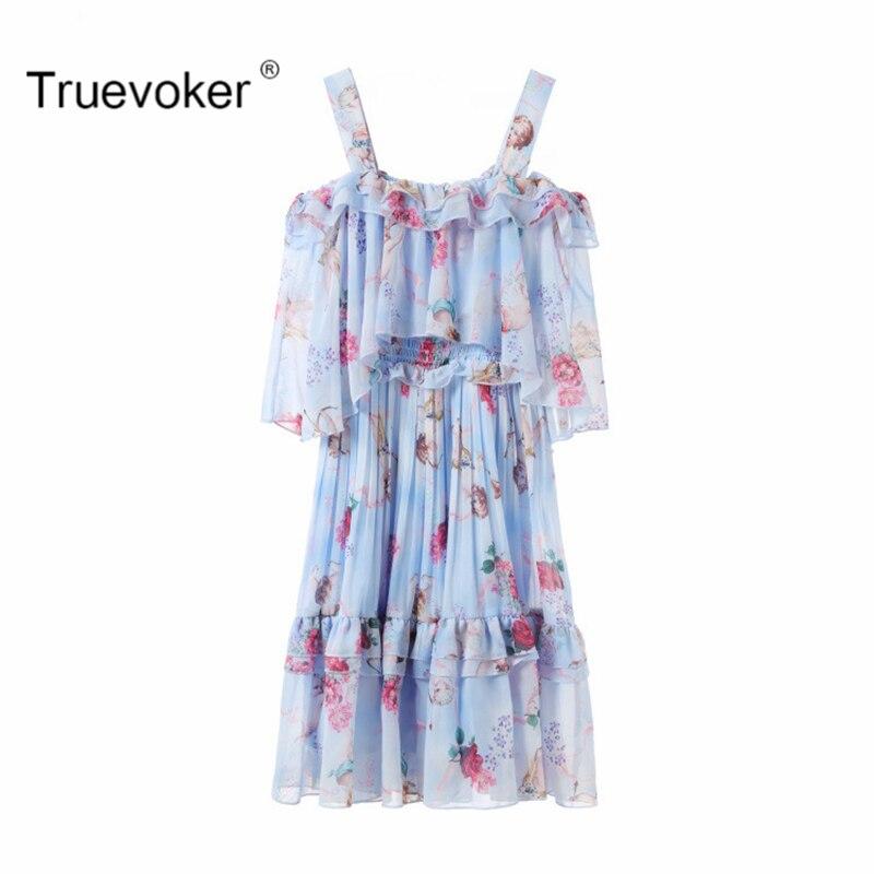 Truevoker Europe Designer Summer Dress Womens Noble Blue Angel Printed Ruffle Spaghetti Strap Casual Vestido