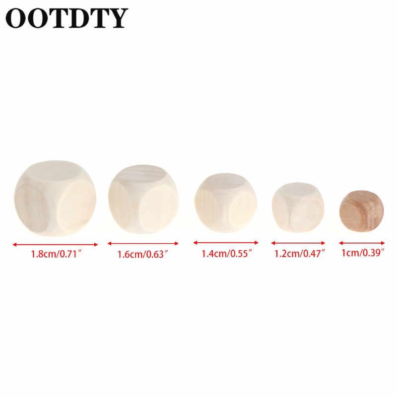 OOTDTY 10pcs 6 צדדי ריק עץ קוביות המפלגה משפחת DIY משחקים הדפסת חריטה קיד צעצועי משחק קוביות