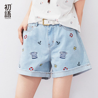 To Youth 2015 Fashion Women S Jeans Summer Embroidery Pattern High Waist Stretch Denim Shorts Loose