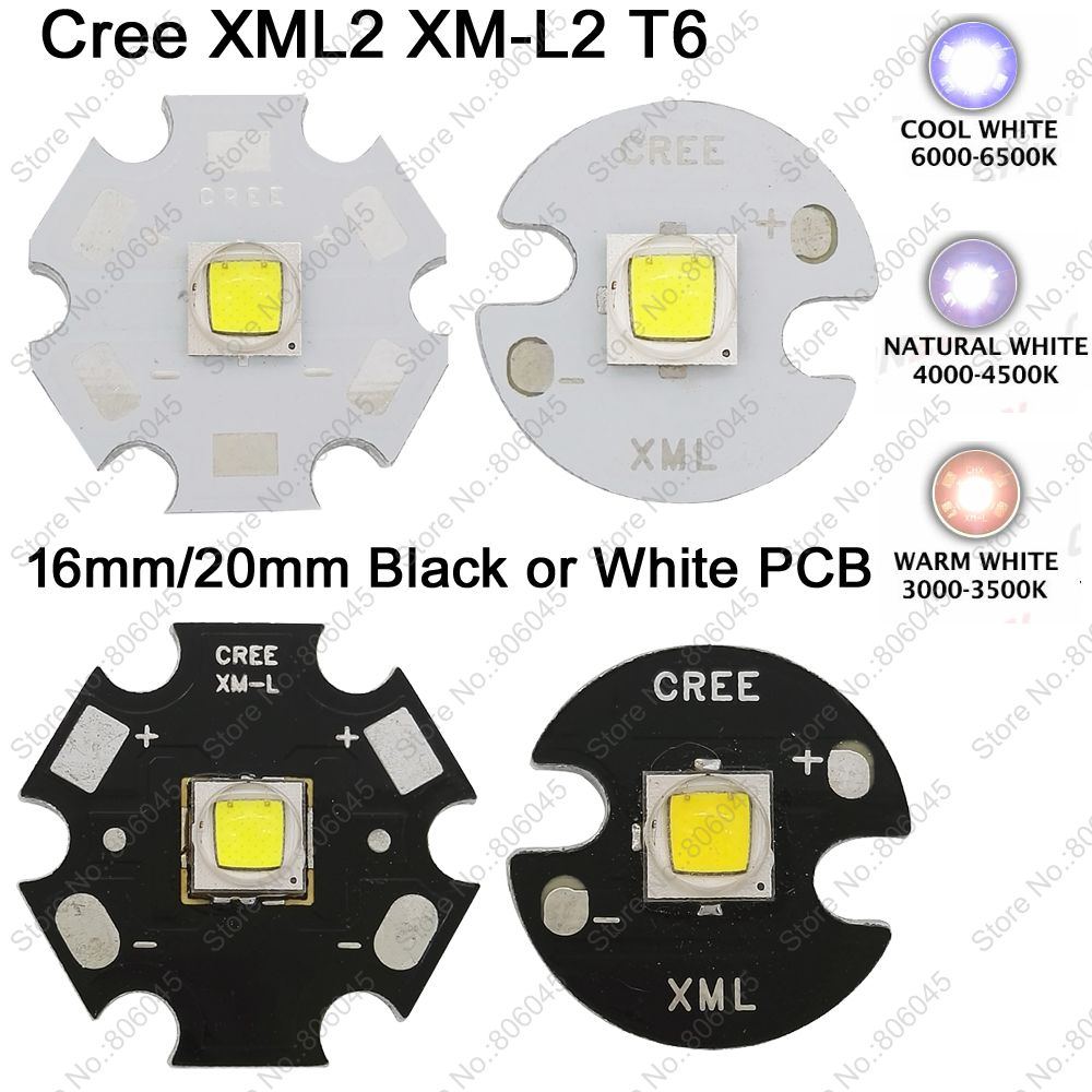 10x CREE XML2 XM-L2 T6 High Power LED Emitter Cool White 6500K Neutral White 5000K Warm White 3000K 16mm 20mm White or Black PCB cree xhp50 cool white neutral white warm white high power led emitter 6v 16mm copper pcb 22mm 1mode 3modes 5modes driver