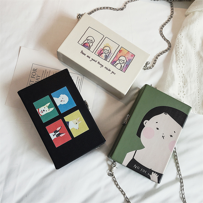 Korean Fashion Women Printing Handbag Cute Style Small Square Box Mini Chain Crossbody Shoulder Messenger Bag White Green Black