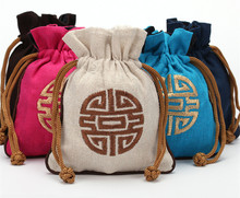 Woman Cotton Linen Large Drawstring Gift Bag for Jewelry Travel Pouch Chinese Ethnic Embroidery Tea Candy Packaging Bags 13x18