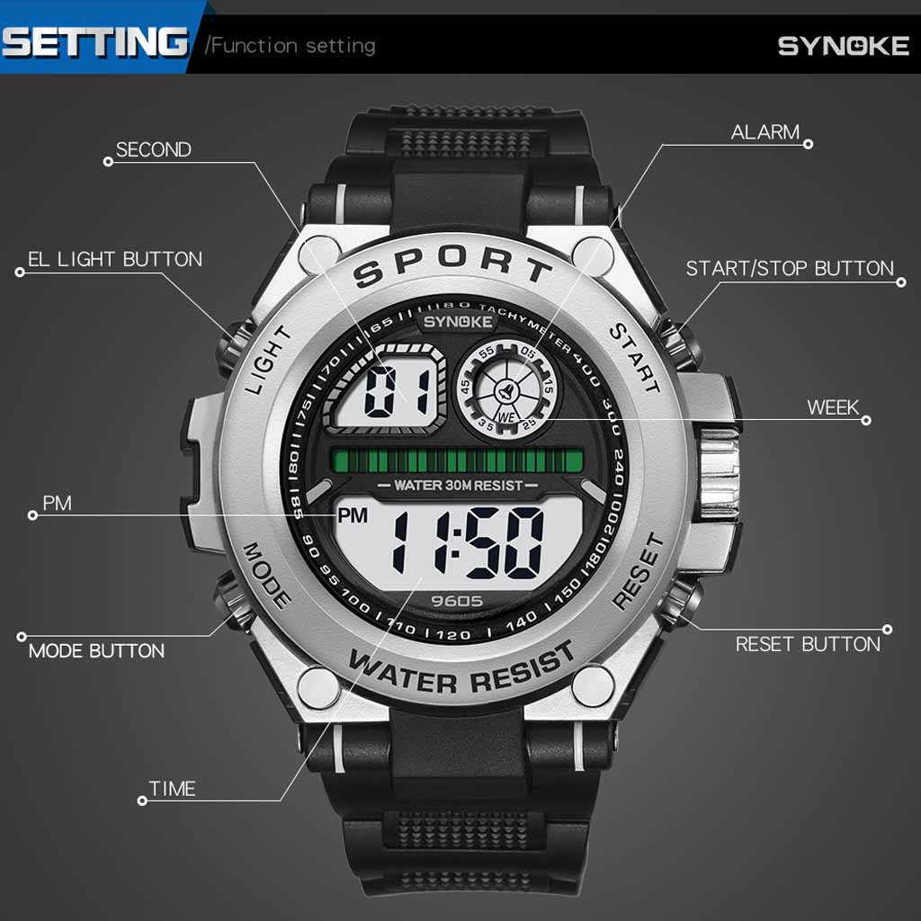 quality digital Electronic watch outdoor sports multi-function trend big screen fashion men's watch 50 meters waterproof