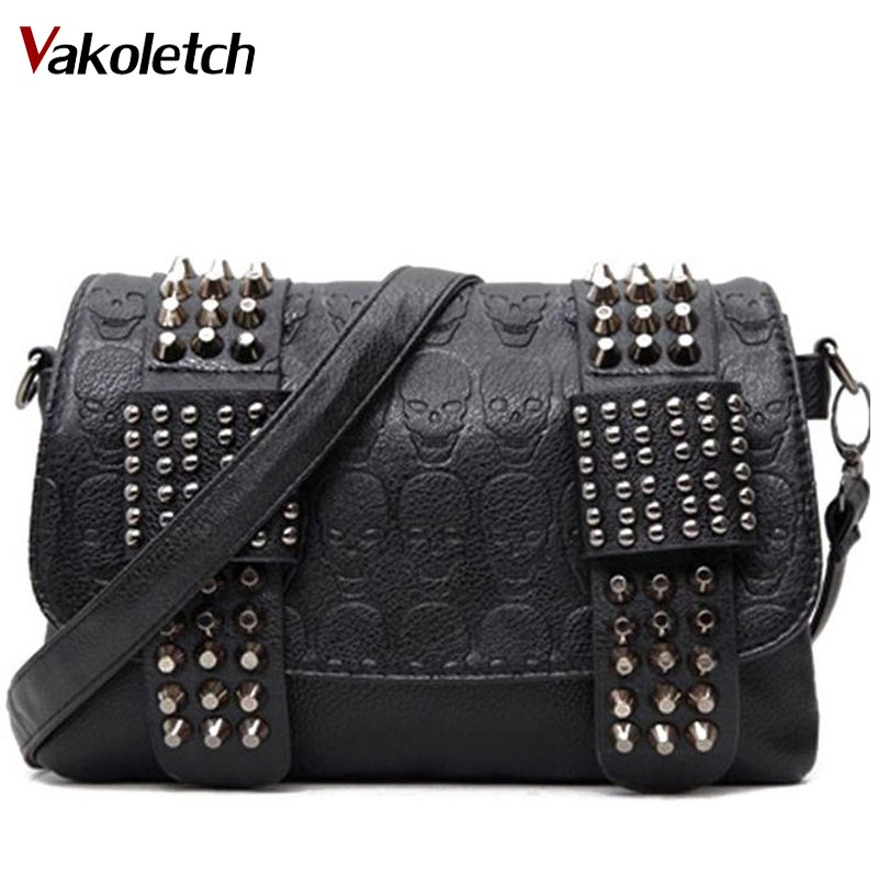 Women Messenger Bags PU Leather Rivet Women Clutch Purse and Handbag Bolsa Feminina Rock Fashion Shoulder Bag W17-39 lykanefu fashion black rock skull bag women messenger bags designer handbag clutch purse bag bolsas femininas couro dollar price