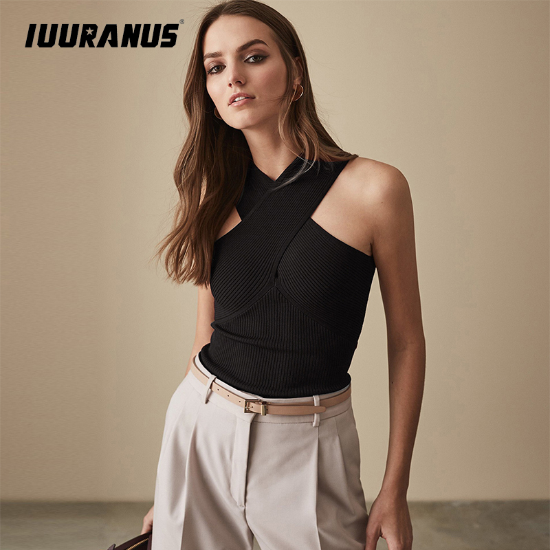 IUURANUS 2019 Women Summer Sexy Criss Cross Halter Bandage Crop Top V Neck Knitted Tank black Breathable Clothes