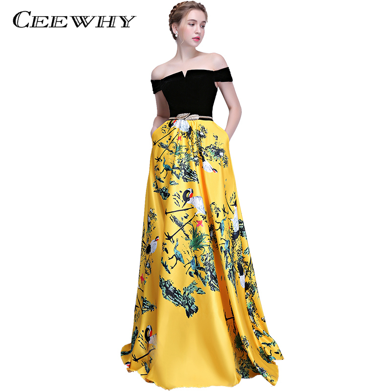 CEEWHY Patchwork Printed Prom Dresses Boat Neck Elegant Evening Dress Long Robe De Soiree Floor Length Evening Gown Abendkleider