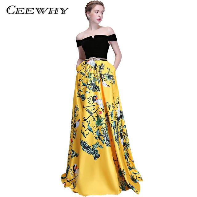CEEWHY Patchwork Printed Prom Dresses Boat Neck Elegant Evening Dress Long Robe de Soiree Floor Length Evening Gown Abendkleider
