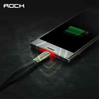 Auto Disconnect Micro USB Cable ROCK 2 1A Led Light Fast Charging Micro USB Cable For
