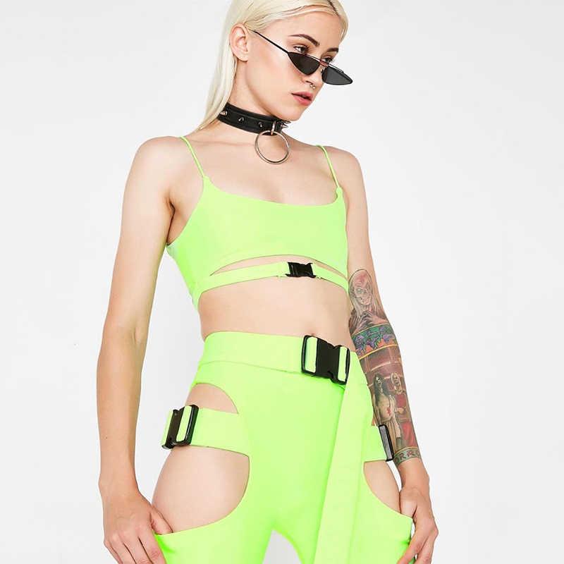 Криптографический популярный однотонный неоновый зеленый комбинезон с пряжкой широкие шорты с поясом сексуальный комбинезон 2019 модные наряды