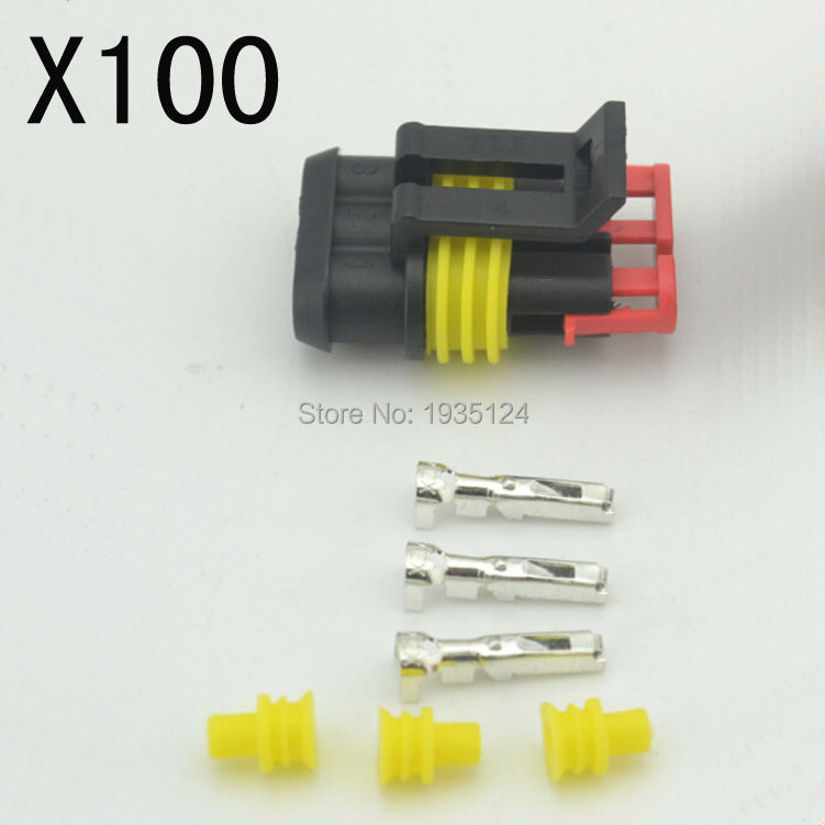 New Car Part 100 kit 3 Pin Way Sealed Waterproof Electrical Wire female Auto Connector Plug