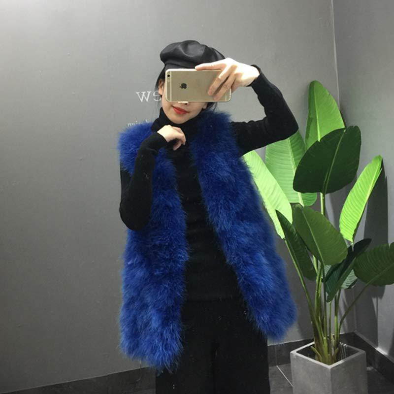 Длинный жилет из натурального меха ручной вязки из натурального страусиного пера, меховой жилет высокого качества из натурального пушистого меха, жилет темно-серого цвета - Цвет: 2 Blue