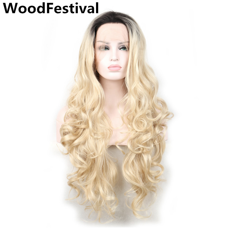 WoodFestival synthetic lace front wig ombre blonde wigs black roots long lace front wig heat resistant women hair wigs wavy
