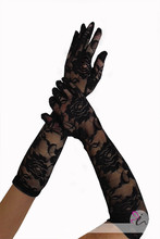 PADEGAO women sexy prom lace Jacquard gloves black vintage hollow out party long perform elegant elbow mittens