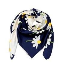 Daisy Flower Printed Square Silk Scarf Women 90*90 100% Silk Twill Scarf Bandana Hijab Female Scarves & Wraps Shawl Hand Rolled