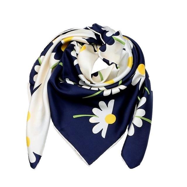 Papatya çiçek baskılı kare ipek eşarp kadınlar için 90*90% 100% İpek dimi eşarp Bandana başörtüsü kadın eşarp ve sarar şal el haddelenmiş