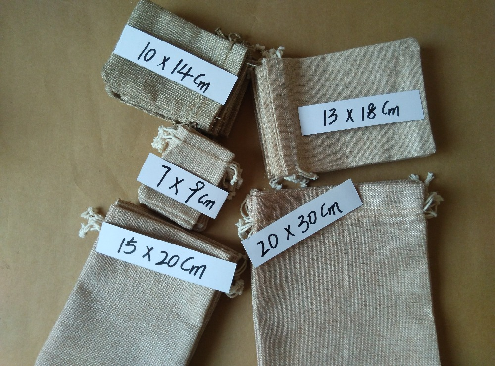 5pcs/lot 7x9 10x14 13x18 15x20 20x30cm burlap jute linen bags wedding gift bag favor bags drawstring pouch jewelry Packaging bag