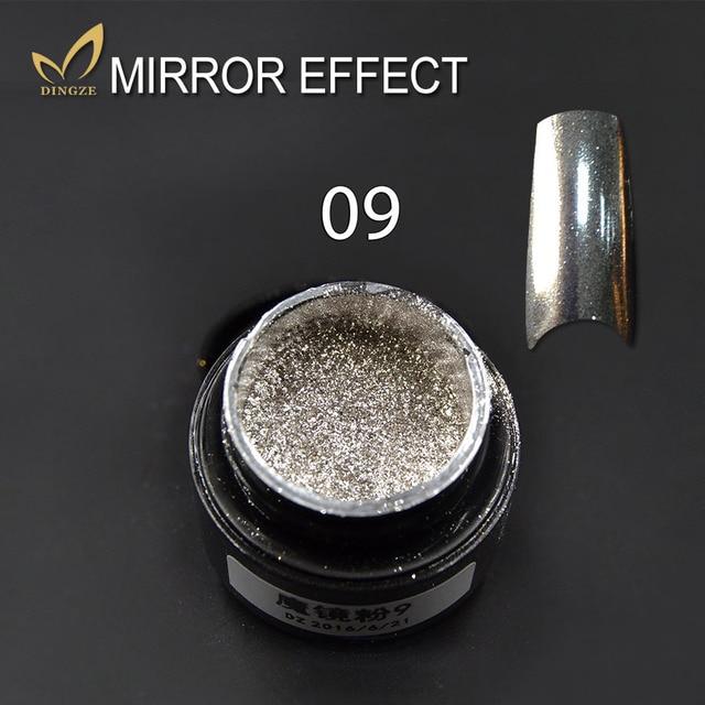 Efecto Espejo Nails Glitter Glitter Powder Arte de Uñas de Oro Cromo ...