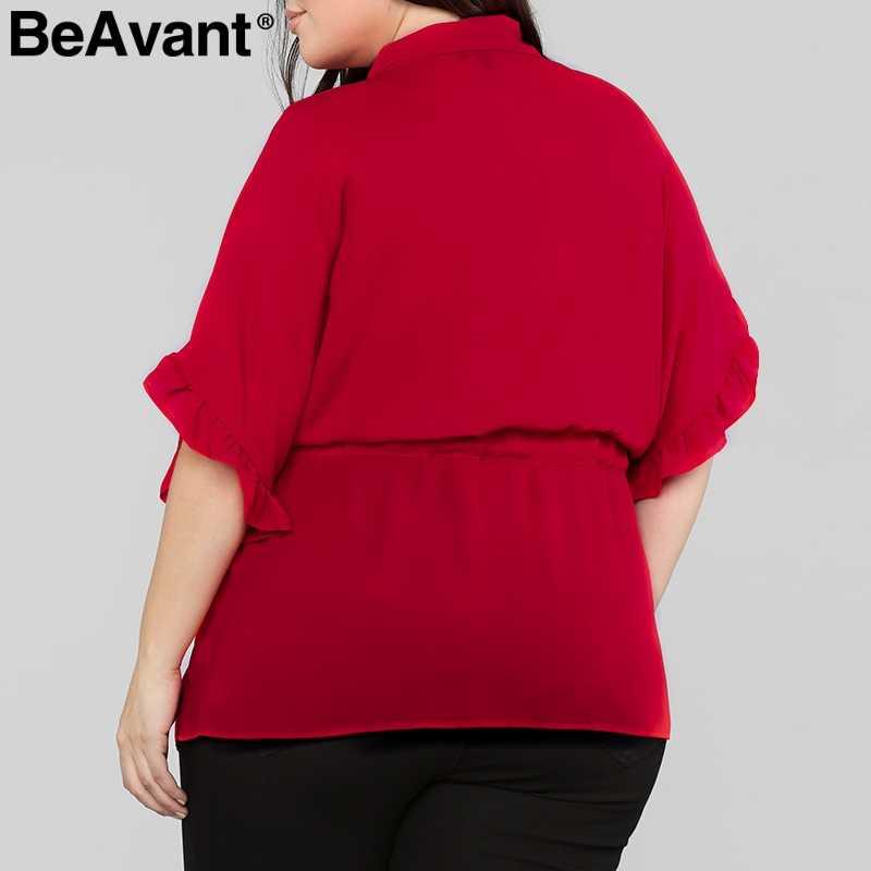 BeAvant أنيقة كشكش بلوزة حريمي زائد الحجم جاكيت بلوزة شيفون قميص أعلى الإناث فضفاض التعادل يصل زر الصيف قمم