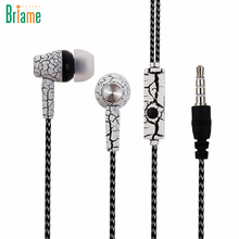 Briame Crack Earphone Cloth Rope Earpieces Stereo Bass Music Headset Sport Headphone with Micrphone for iphone Samsung Sony MP3