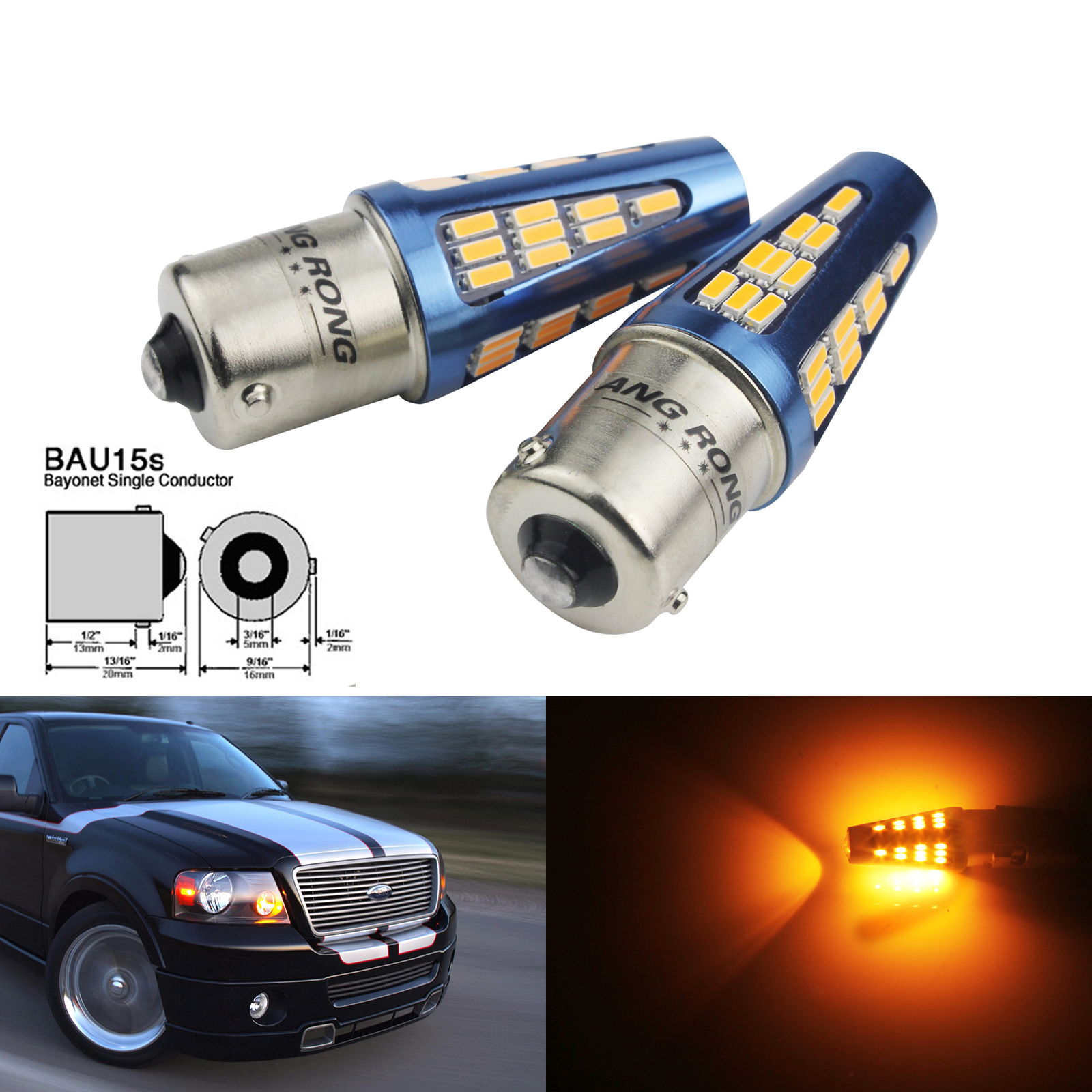 ANGRONG 2x 48 SMD <font><b>LED</b></font> <font><b>PY21W</b></font> BAU15S Amber <font><b>Orange</b></font> Turn Signal Front Rear Indicator Light image