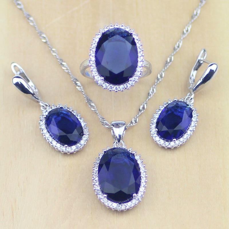 925 Sterling Silber Schmuck Blau Zirkonia Weiß Cz Schmuck-sets Für Frauen Hochzeit Ohrringe/anhänger/halskette/ringe StraßEnpreis Hochzeits- & Verlobungs-schmuck