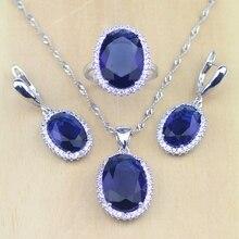 925 Joyería de Plata Esterlina Azul Cubic Zirconia CZ Sistemas de La Joyería Para Las Mujeres Pendientes de La Boda Blanca/Colgante/Collar/anillos